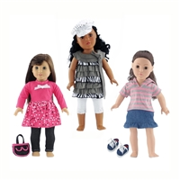 18-Inch Doll Clothes - Casual Clothing 3 Outfit Sets - fits American Girl ® Dolls