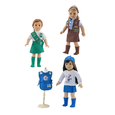 18-Inch Doll Clothes - Girl Scout Uniforms 3 Pack Set - fits American Girl ® Dolls