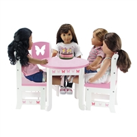 18-inch Doll Furniture - Butterfly Collection Table and 4 Chair Dining Set - fits American Girl ® Dolls