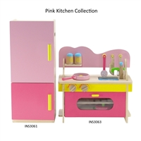 18-inch Doll Furniture - Wooden Kitchen and Refrigerator/Freezer Set with Accessories - fits American Girl ® Dolls