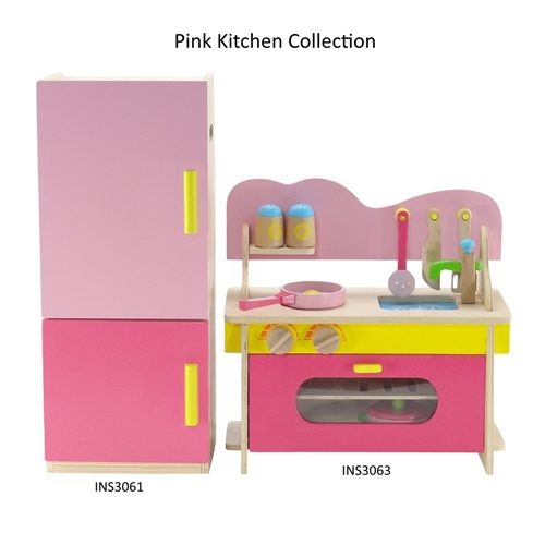 18 Inch Doll Furniture Wooden Kitchen And Refrigeratorfreezer Set With Accessories Fits American Girl Dolls