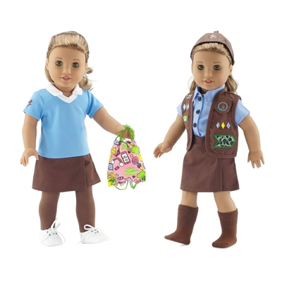 18-Inch Doll Clothes - Brownie Girl Scout Uniform and Accessory Bundle - fits American Girl ® Dolls