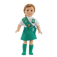 18-inch Doll Clothes - Girl Scout Junior Uniform - includes Skirt, White Shirt, Sash, Badge and Socks - fits American Girl ® Dolls
