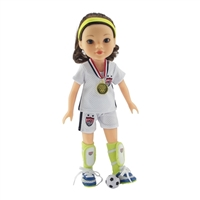 14-Inch Doll Clothes - Team USA-Inspired 8 Piece Soccer Uniform Outfit - fits Wellie Wishers ® Dolls