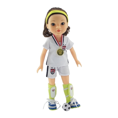 14-Inch Doll Clothes - Team USA-Inspired 7 Piece Soccer Uniform Outfit - fits Wellie Wishers ® Dolls