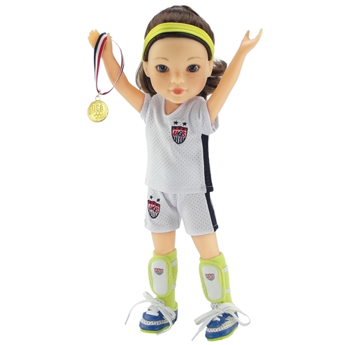 14 Inch Doll ClothesTeam USA-Inspired 8 Piece Soccer Outfit//UniformFits