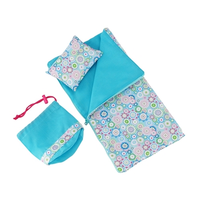 14-Inch Doll Accessories - Reversible Flower Print Sleeping Bag Set - fits Wellie Wishers ® Dolls