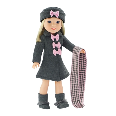14 Inch Doll Clothes - Grey and Pink Coat with Hat, Boots, and Scarf - fits Wellie Wishers ® Dolls