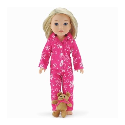 14-inch Doll Clothes - Pink Snowflake Print 2-Piece Classic Pajamas/PJs with Teddy Bear - fits Wellie Wishers ® Dolls