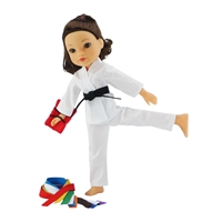 14-inch Doll Clothes - Karate Outfit with 9 Color Belts and Red Kick-Pad - fits Wellie Wishers ® Dolls