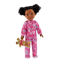 14-inch Doll Clothes - One Piece Footed Pink with Hearts Pajamas/PJs plus Teddy Bear - fits Wellie Wishers ® Dolls