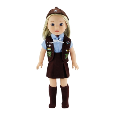 14-inch Doll Clothes - Brownie Uniform - Brown Vest, Skirt, Hat and Socks plus Blue Shirt - fits Wellie Wishers ® Dolls