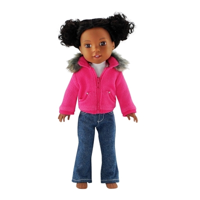 14-inch Doll Clothes - Fur Jacket, Jeans, and Tee Shirt - fits Wellie Wishers ® Dolls