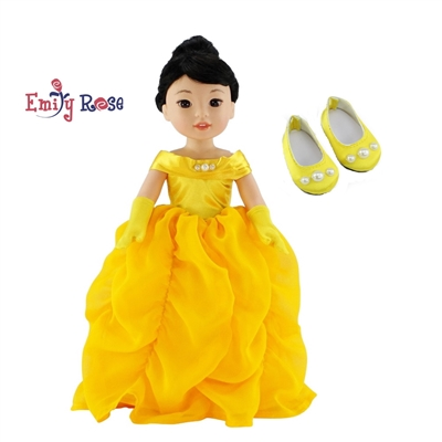 14 Inch Doll Clothes - Princess Belle-Inspired Ball Gown and Gloves - fits Wellie Wisher ® Dolls