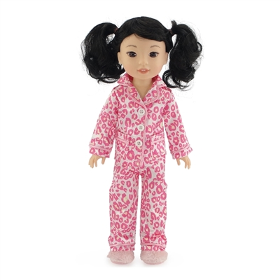 14-inch Doll Clothes - Pink Leopard Print Pajamas/PJs plus Fuzzy Slippers - fits Wellie Wishers ® Dolls