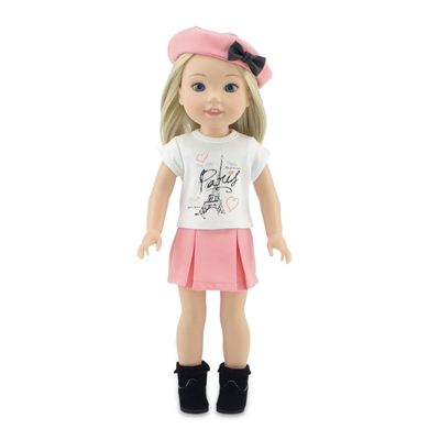 14-Inch Doll Clothes - Eiffel Tower Paris Graphic T-Shirt and Pleated Skirt Outfit - fits Wellie Wishers ® Dolls