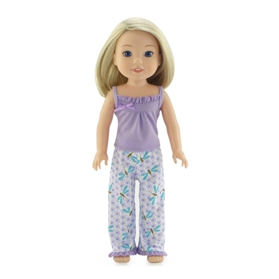 14-inch Doll Clothes - Summer Tank Dragonfly Print Pajamas/PJs - fits Wellie Wishers ® Dolls