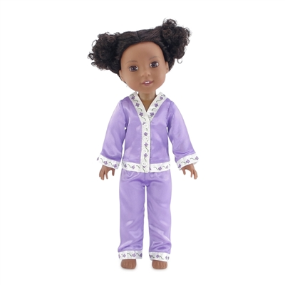 14-inch Doll Clothes - Purple Satin Pajamas/PJs - fits Wellie Wishers ® Dolls