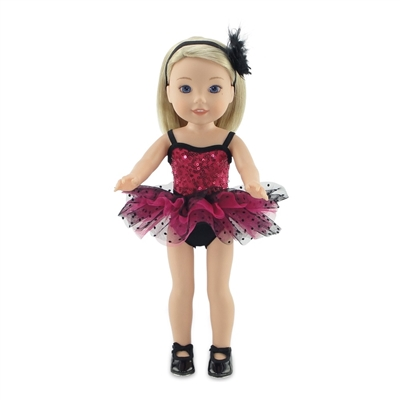 14-inch Doll Clothes - Pink and Black Jazz Ballet Outfit, Headband, and Tap Shoes - fits Wellie Wishers ® Dolls