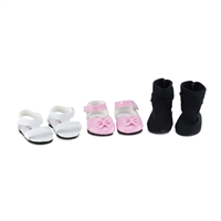 14 Inch Doll Clothes - 3 Pair (Dress, Sandals, Boots) Doll Shoes - fits Wellie Wishers ® Dolls