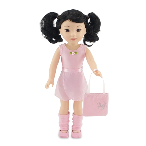 693b5977db27 14-Inch Doll Clothes - Ballerina Practice Outfit with Pink Leotard