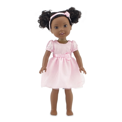 14-Inch Doll Clothes - Pink Flower Girl Tutu Dress with Headband - fits Wellie Wishers ® Dolls