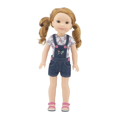 14 Inch Doll Clothes - Overall Jean Short Outfit with Pink Sandals - fits Wellie Wishers ® Dolls