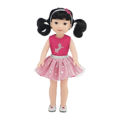 14 Inch Doll Clothes - Unicorn Tutu Sparkle Outfit with Glittery Shoes - fits Wellie Wishers ® Dolls