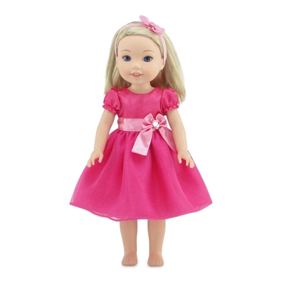 14 Inch Doll Clothes - Pink Party Dress with Bow and Matching Headband - fits Wellie Wishers ® Dolls