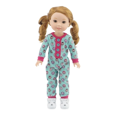 14 Inch Doll Clothes - Lamb Print Pajamas PJs with Adorable Slippers- fits Wellie Wishers ® Dolls