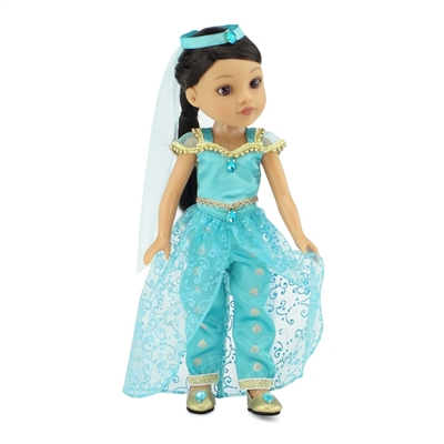 14-inch Doll Clothes - Stunning Princess Jasmine Inspired Outfit and Shoes - fits Wellie Wishers® Dolls