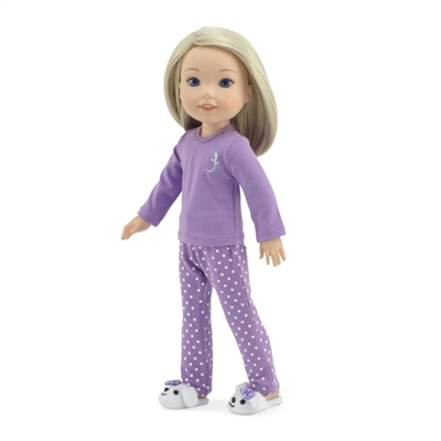 14-inch Doll Clothes - Lavender Polka Dot Pajamas/PJs plus Puppy Slippers - fits Wellie Wishers ® Dolls