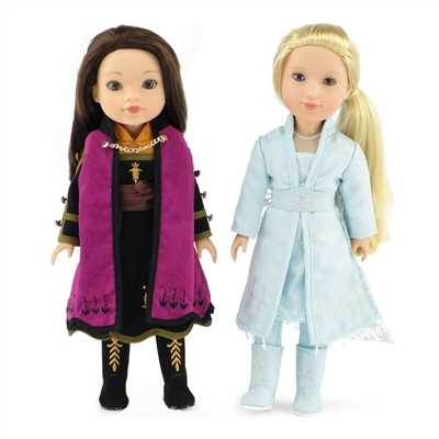 14-inch Doll Clothes - Princess Elsa and Anna Frozen 2 Inspired Outfit Set - fits American Girl ® Dolls