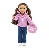 14-inch Doll Clothes - Hooded Sweatshirt  / Heart Design and Skinny Jeans, Includes Matching Backpack - fits Wellie Wishers ® Dolls