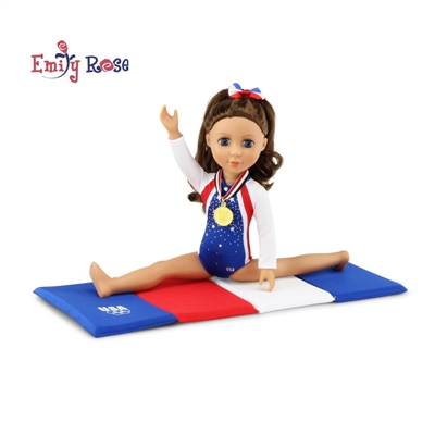14-inch Doll Clothes - Gymnastics Leotard plus Tumbling Mat and Hair Bow - fits Wellie Wishers ® Dolls
