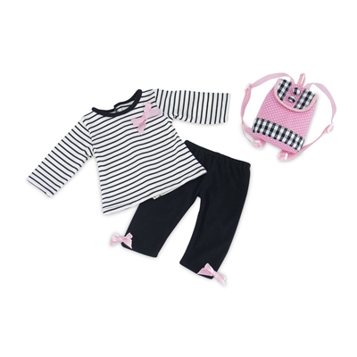 14 Inch Doll Clothes - T-Shirt, Leggings, and Backpack Outfit - fits Wellie Wishers ® Dolls