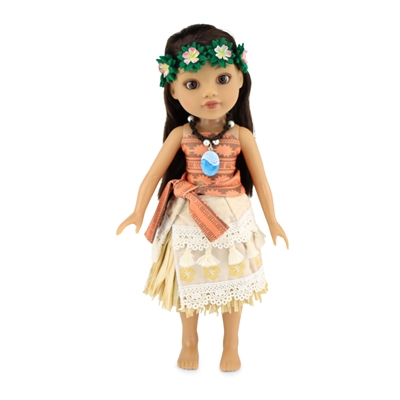 14 Inch Doll Clothes - Six-Piece Moana-Inspired Outfit with Accessories - fits Wellie Wishers ® Dolls