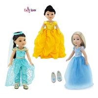 14 inch Doll Clothes - Fabulous Princess Dress Value Bundle - fits Wellie Wishers Dolls