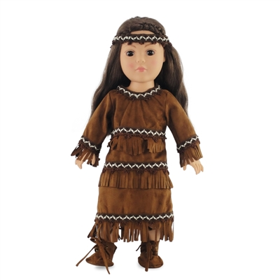 18-inch Doll Clothes - Native American Fringed Brown Dress with Moccasins and Headband - fits American Girl ® Dolls