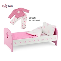 14-inch Doll Furniture - Pink Single Bed with Star Detail (Includes Bedding) - fits American Girl ® Wellie Wisher Dolls