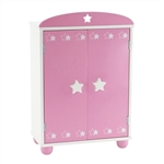 14-inch Doll Furniture - Pink Armoire with Star Detail (Includes 5 Clothes Hangers) - fits American Girl ® Wellie Wishers Dolls