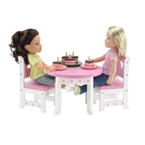 14 Inch Doll Furniture   Star Collection Table And 2 Chair Dining Set    Fits American Girl ® Wellie Wishers Dolls