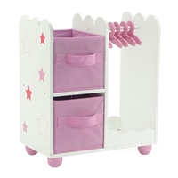 14-inch Doll Furniture - Pink Open Armoire with Star Detail (Includes 5 Clothes Hangers) - fits American Girl ® Wellie Wishers Dolls