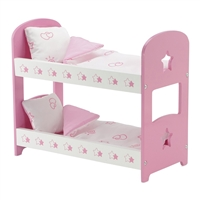 14-inch Doll Furniture - Pink Bunk Bed with Star Detail (Includes Bedding) - fits American Girl ® Wellie Wishers Dolls