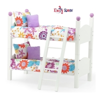 14-Inch Doll Furniture - White Stackable Bunk Bed with Ladder - fits Wellie Wishers Dolls