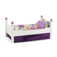 14-Inch Doll Furniture - White Stackable Single Bed with Bedding - fits Wellie Wishers Dolls