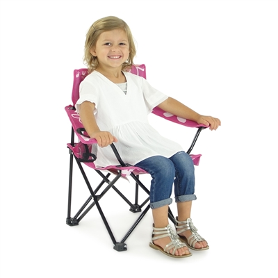 Kid's Folding Camp Beach Chair - Pink and White Flowered Camping Chair - fits children aged 3-6 years old