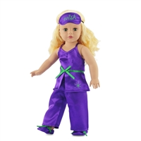 18-inch Doll Clothes - Purple Satin Pajamas/PJs with Green Trim, includes Eye Mask, Slippers - fits American Girl ® Dolls