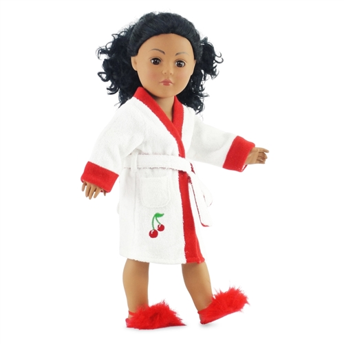 18-inch Doll Clothes - White Terry Robe with Cherry Trim and Fuzzy ... 980c8f5f5