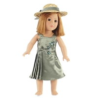 18-inch Doll Clothes - Green Satin Dress with Bow - fits American Girl ® Dolls